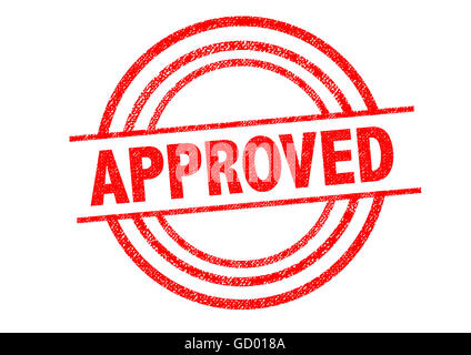 APPROVED Rubber Stamp over a white background. - Stock Photo