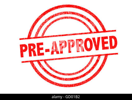 PRE-APPROVED Rubber Stamp over a white background. - Stock Photo