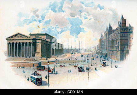St. George's Hall and Lime Street, Liverpool, England in the 19th century. - Stock Photo