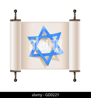 Star of David with shadow on Hebrew ancient scroll. Sign of Judaic religion and faith - Stock Photo