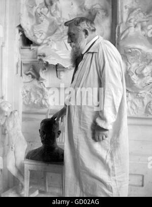 Auguse Rodin. Portrait of the French sculptor Auguste Rodin (François Auguste René Rodin: 1840-1917) by Gertrude - Stock Photo