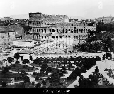 Colosseum, Rome. 19th century view of the Colosseum in Rome. Photo taken between 1860 and 1890 - Stock Photo