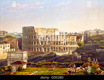 Colosseum, Rome. 19th century view of the Colosseum in Rome. Etching with aquatint from a daguerrotype by Noël Paymal - Stock Photo