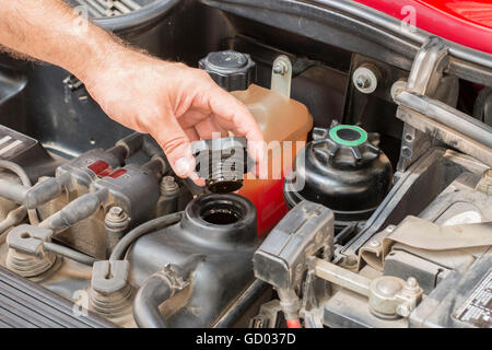 checking oil levels in service shop - Stock Photo