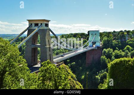 Clifton Suspension Bridge in Bristol England - Stock Photo