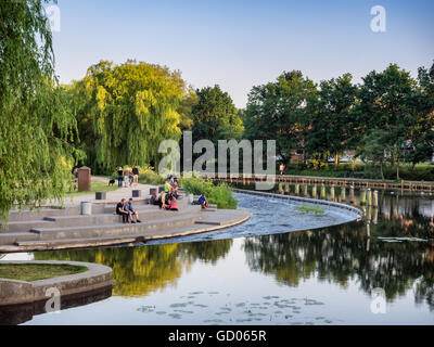 Odense river on a summers day, Denmark - Stock Photo