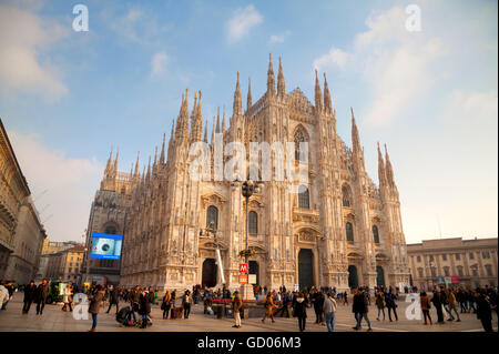 MILAN, ITALY - NOVEMBER 25: Duomo cathedral with people on November 25, 2015 in Milan, Italy. - Stock Photo