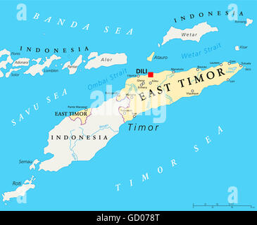 East Timor political map with capital Dili, national borders, important cities and rivers. Also known as Timor Leste. - Stock Photo