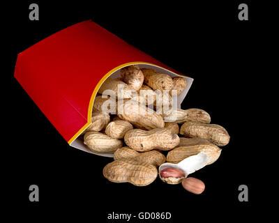 Fast food healthy snack. Peanuts Aka groundnuts, monkey nuts. - Stock Photo