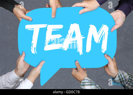 Group of people holding with hands the word team teamwork working together business concept - Stock Photo