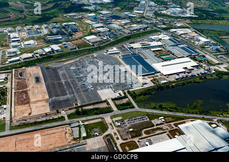 Industrial estate land development earthmoving and construction aerial view - Stock Photo