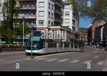 Urban transportation in Strasbourg is greatly facilitated by the city's modern trams featuring six tram lines covering - Stock Photo