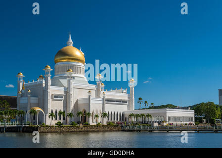 Late afternoon over Bandar Seri Begawan, Brunei, standing in the courtyard of the Sultan Omar Ali Saifuddin Mosque. - Stock Photo