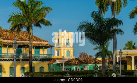 The Spanish colonial architecture of the Plaza Mayor in Trinidad, Cuba. - Stock Photo