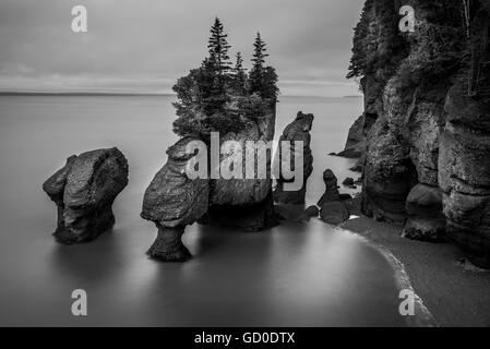 A long exposure in black and white of the Flowerpot Rocks, part of the Hopewell Rocks, in New Brunswick, Canada. - Stock Photo