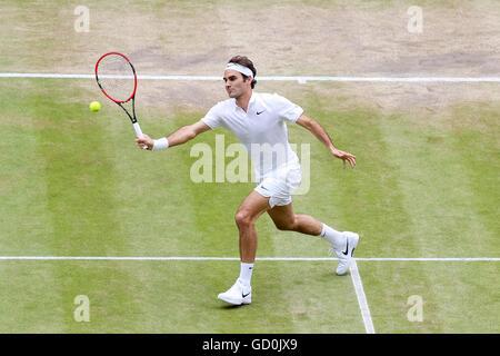 London, UK. 8th July, 2016. Roger Federer (SUI) Tennis : Roger Federer of Switzerland during the Men's singles semi - Stock Photo