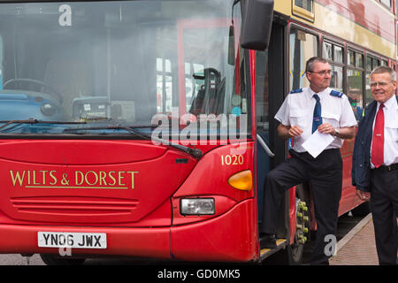 Poole, Dorset, UK. 10 July 2016. Hants & Dorset (More Bus) centenary celebrates in style for its 100th birthday - Stock Photo
