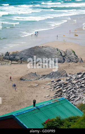 A hot summers day at Whitsand Bay, Cornwall, UK overlooked from Tregonhawke Cliff. - Stock Photo