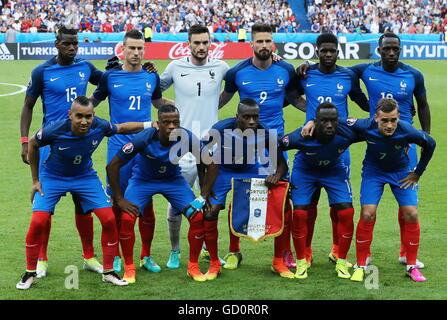 Saint Denis, France. 10th July, 2016. France's Dimitri Payet, Patrice Evra, Blaise Matuidi, Bacary Sagna, Antoine - Stock Photo