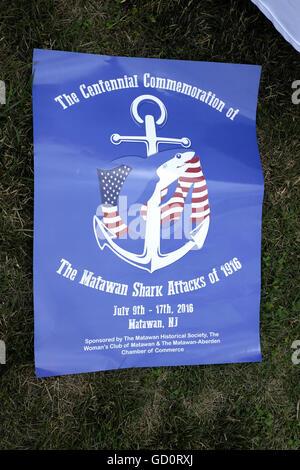Sharkfest 2016 commemorating 100th Anniversary of shark attacks in New Jersey. Centennial Commemoration of the Matawan - Stock Photo