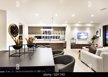 Modern Living Room With A Television Beside Dinner And Kitchen The Dining Table Has Creative