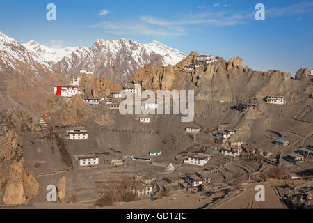 Picturesque view of Dhankar Gompa Monastery (3894 m) at sunrise. Spiti valley, Himachal Pradesh, India. - Stock Photo