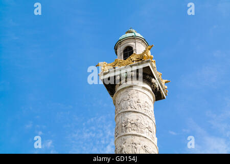 Top of column with bas-reliefs of Karlskirche, Charles Church, in Vienna, Austria - Stock Photo