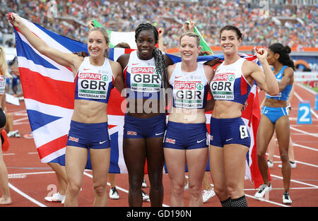 (L-R) Great Britain's Emily Diamond, Anyika Onuora, Eilidh Doyle and Seren Bundy-Davies celebrate after finishing - Stock Photo