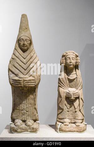 Madrid. Spain. Female Offerants (Figuras femeninas oferentes), National Archaeological Museum of Spain. Museo Arqueológico - Stock Photo