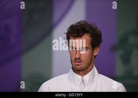 The Wimbledon GentlemenÕs Singles Champion Andy Murray (GBR) giving his press conference. The Championships 2016 - Stock Photo