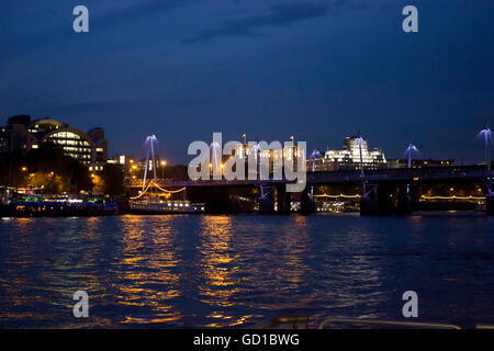 LONDON, UNITED KINGDOM - SEPTEMBER 11 2015: London by night by River Thames - Stock Photo