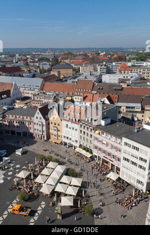 Cityscape, view from Perlach Tower over Rathausplatz square, Augsburg, Bavaria - Stock Photo