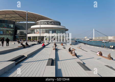 Rheinterrasse terrace, Rhein-Galerie shopping mall, people, Rhine river, Ludwigshafen am Rhein, Rhineland-Palatinate - Stock Photo
