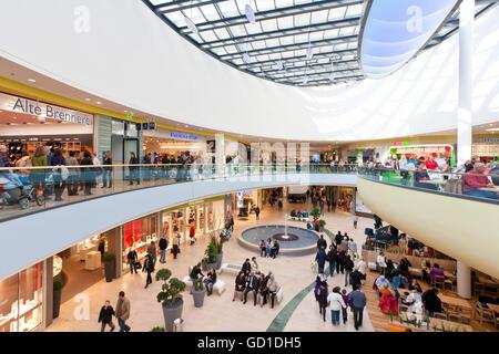 Rhein-Galerie, a modern shopping mall, people, Ludwigshafen am Rhein, Rhineland-Palatinate - Stock Photo