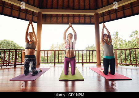Shot of three young women doing yoga at health club. Female kneeling on exercise mat with their hands joined overhead. - Stock Photo