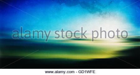 Horizontal vintage Greece sunrise landscape abstraction film sca - Stock Photo