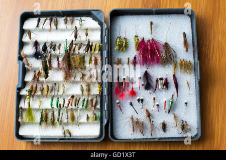 Flies tied meticulously by an avid fisherman for lake trout fishing; Chilliwack, British Columbia, Canada - Stock Photo