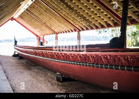 Maori boat, Waitangi Treaty Grounds, Bay of Islands, Northland Region, North Island, New Zealand, Pacific - Stock Photo