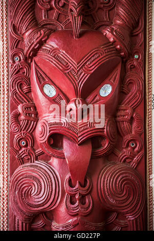 Wooden carving at a Maori Meeting House, Waitangi Treaty Grounds, Bay of Islands, Northland Region, North Island, - Stock Photo