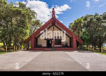 Maori Meeting House, Waitangi Treaty Grounds, Bay of Islands, Northland Region, North Island, New Zealand, Pacific - Stock Photo