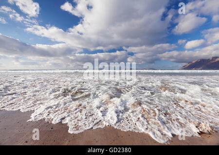 View from Famara Beach to La Graciosa Island, Lanzarote, Canary Islands, Spain, Atlantic, Europe - Stock Photo