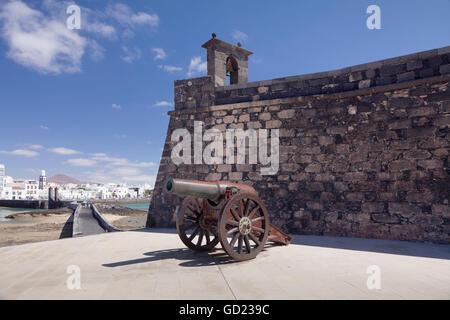 Castillo de San Gabriel fortress, guns, Arrecife, Lanzarote, Canary Islands, Spain, Atlantic, Europe - Stock Photo