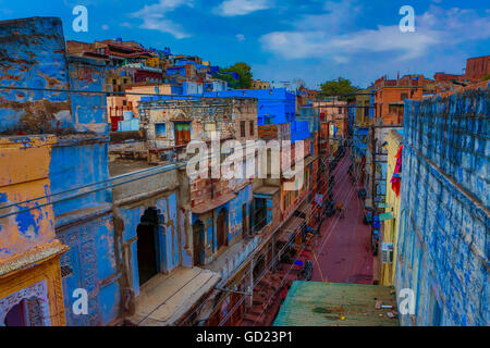 The blue rooftops in Jodhpur, the Blue City, Rajasthan, India, Asia - Stock Photo