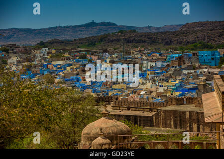 The view from Mehrangarh Fort of the blue rooftops in Jodhpur, the Blue City, Rajasthan, India, Asia - Stock Photo