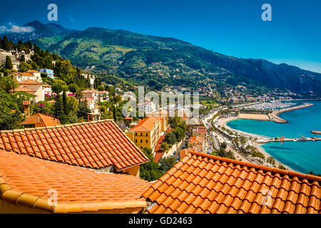 City view of medieval Menton, Alpes-Maritimes, Cote d'Azur, Provence, French Riviera, France, Mediterranean, Europe - Stock Photo