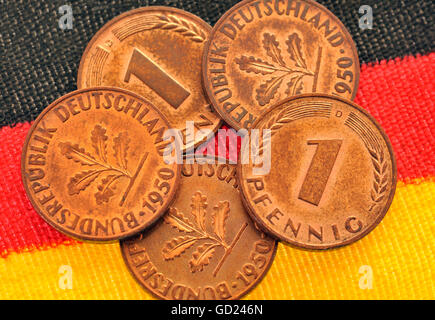 money / finances, coins, Germany, coins about 1 pfennig, date of minting 1950, very good conserved, valid until - Stock Photo