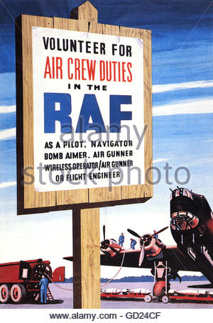events, Second World War / WWII, propaganda, Great Britain, Royal Air Force recruiting poster, circa 1943, Additional - Stock Photo