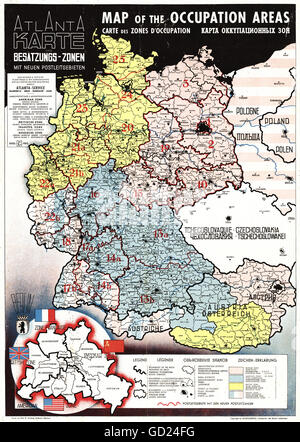 cartography, maps, Germany and Austria, Allied Zones of Occupation and German postal codes, Atlantic Service, Frankfurt - Stock Photo