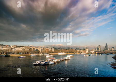 The River Thames looking North East from Waterloo Bridge, London, England, United Kingdom, Europe - Stock Photo