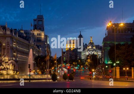 Calle de Alcala, Plaza de Cibeles, Madrid, Spain, Europe - Stock Photo